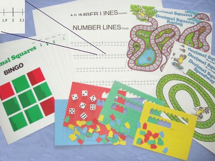 Decimal Squares®Activity Mats, Dice and Game Markers