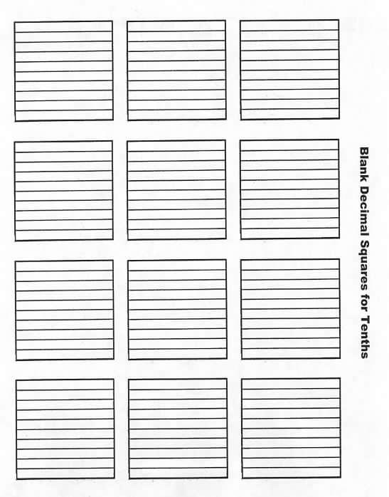 Blank Decimal Squares Tenths – Decimal Squares