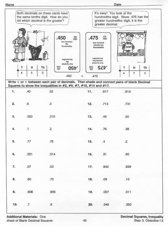 inequality sample worksheet  u2013 decimal squares