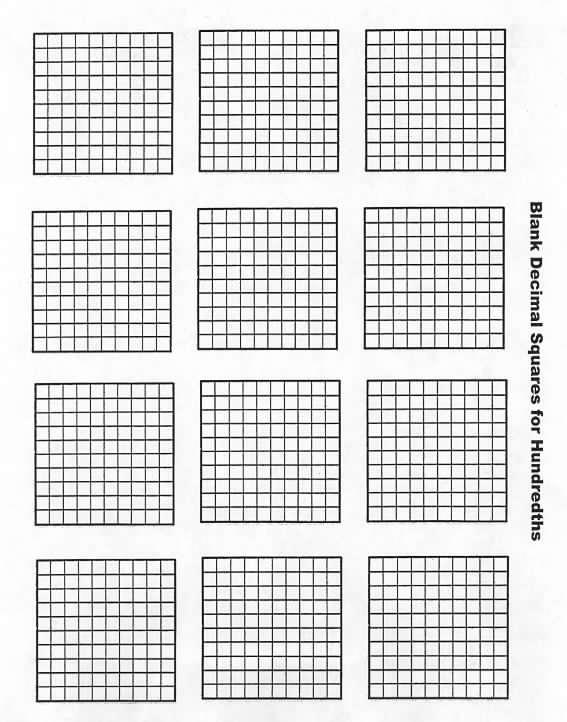 Blank Hundredths Decimal Squares – Decimal Squares