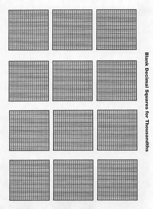 Blank Decimal Squares Thousandths Decimal Squares