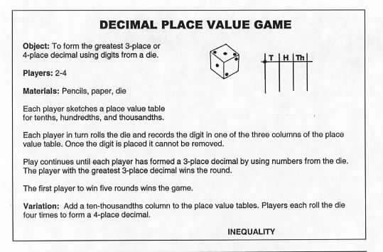Place Value Equality Decimal Squares